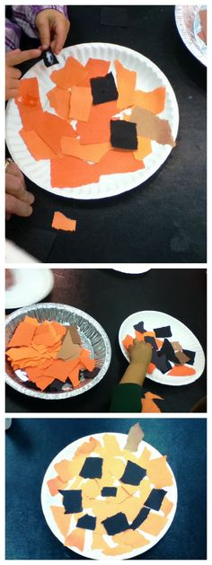 Halloween pumpkin collage @Lisle Library! Rip large pieces of construction paper in black, orange and brown and set out glue sticks or bottles of Elmer's. Kids can shred the paper into tinier pieces and make a Jack-o-Lantern any way they like. Easy Halloween craft, as spooky or funny as they like! #processorientedart