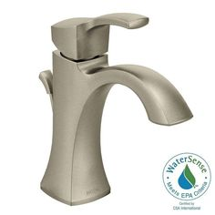 MOEN Voss Single Hole 1-Handle High-Arc Bathroom Faucet in Brushed Nickel - 6903BN - The Home Depot