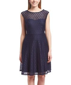 Look at this New Navy Illusion Yoke Fit & Flare Dress on #zulily today!