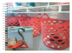 Frugal organization space saving in laundry room, closet, or pantry. Dollar Tree baskets hung from wire shelves with Dollar Tree shower curtain hooks