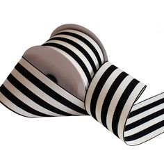 Black and Cream Stripe Ribbon | Wedding Ribbon | Hassle Free Shipping