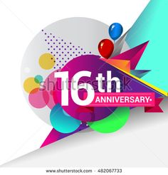 16th Anniversary logo, Colorful geometric background vector design template…