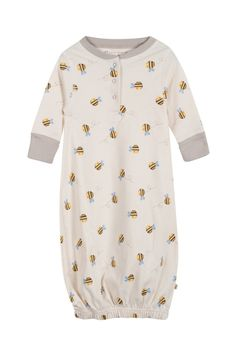 Buzzy Bee Gown - Natural Buzzy Bee | Organic Baby & Toddler Baby Grows & Rompers by Frugi | Organic Baby & Toddler Clothing by Frugi | Organic Baby Clothes - Organic Cotton Clothing For Babies from Frugi