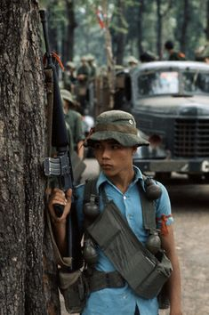 1960s- During the Vietnam War, the United States were faced with two opponents, the NVA and the Viet Cong (South Vietnamese Communist). This is a picture of a solider of the Viet Cong. It is important because it shows their clothing, which was similar to the common citizens making it hard to identify the enemy.