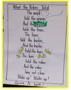 Fill in the missing words and word endings. Some of the poems made into class charts for Shared Reading Tim. Kindergarten Poetry, Kindergarten Anchor Charts, April Poems, Spring Poem, Spring Art, Spring Crafts, Senior Activities, Spring Activities, Exercise Activities