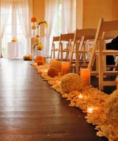 Wedding Aisle Decorations. Pomander balls, candles and petals! So soft and elegant!
