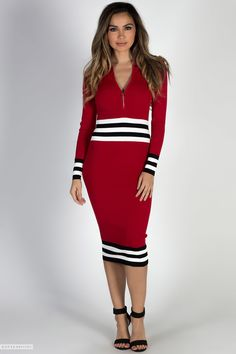 7da81330814 Long Sleeve Bodycon Red Zip Front Sweater Dress with Contrast Stripes Cute  Casual Dresses