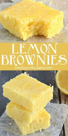lemon brownies are always a hit! We like these lemon squares even more than traditional lemon bars. So easy to make. via Easy lemon brownies are always a hit! We like these lemon squares even more than traditional lemon bars. So easy to make. Lemon Dessert Recipes, Köstliche Desserts, Baking Recipes, Sweet Recipes, Delicious Desserts, Easy Lemon Desserts, Lemon Recipes Easy, Simple Sweets Recipes, How To Make Desserts
