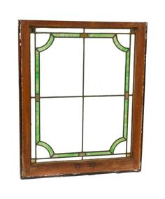 single original c. 1920's american antique leaded art glass interior residential hung sash window with green slag glass border containing concave corners - Stained Glass Windows - Products