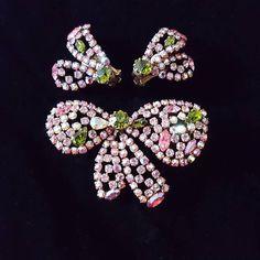 Millennial pink w emerald style crystal rhinestone brooch and