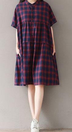 Women loose fit over plus size retro plaid checker pocket dress tunic pregnant #Unbranded #dress #Casual