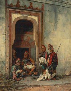 Stanisław Chlebowski (Polish, 1835-1884). Bashi-Bazooks in a doorway