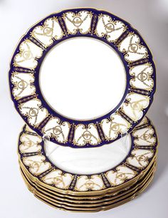 c.1921 Royal Doulton Dinner Plate Set (8), HP Encrusted Raised Gold