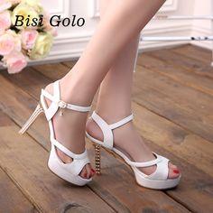 BISI GORO fashion sexy high heels sandals for women 2016 peep toe platform pumps women summer shoes white leather sandals women