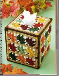 AUTUMN LEAVES Colorful Boutique Size Tissue Box Cover - Fall Home Decor…