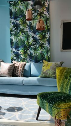 Two of our strongest trends at the moment, metallic and tropical prints. Tropical Prints, Metallic, Couch, Throw Pillows, Trends, Bed, Furniture, Home Decor, Settee