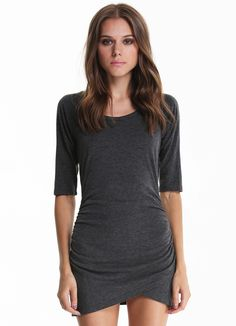 Grey Half Sleeve Ruched Wrap Front Dress 12.67