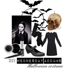 Wednesday Addams by katwhisky on Polyvore featuring mode, Victoria Beckham, Gabor, Mary Kay and diycostume