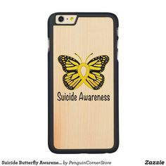 Suicide Butterfly Awareness Ribbon Carved Maple iPhone 6 Plus Case