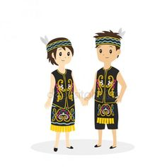 Dayak Traditional Clothes Vector Cartoon Costumes, Map Wallpaper, Kids Vector, Couple Illustration, Dress Clothes For Women, Traditional Dresses, Traditional Wedding, Borneo, Drawing For Kids
