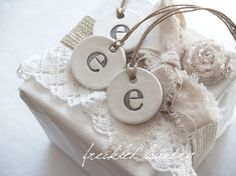 white clay initial gift tags