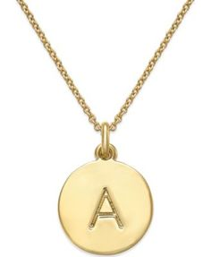 kate spade new york 12k Gold-Plated Initials Pendant Necklace - Fashion Jewelry - Jewelry & Watches - Macy's