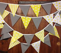 Yellow  grey flag to flag bunting banner 17ft 29 flags spots stripes perfect for weddings, baby showers, parties and bedroom decoration