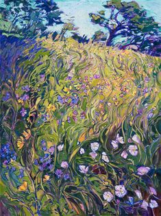 Wildflowers painting by modern impressionist Erin Hanson, from San Diego California