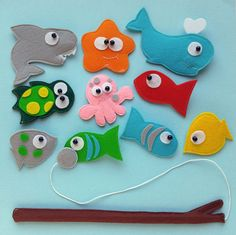 Felt Magnetic Fishing Game, Kids Magnet Fishing Set, Eco friendly accessory for imaginative play, 11 piece by Helgamade on Etsy