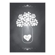 Popular chalkboard style wedding invitation is outlined by swirl scroll border and given a chalk effect. On the back, an original illustration of a trendy mason jar holding white hydrangea flowers and a heart personalized with the bride and groom's initials. Whimsical typography gives the invitation a casually elegant look. This economical version includes RSVP information on the invitation. Coordinating items also available. #chalkboard #wedding #chalk #vintage #typography #chic #black #and…