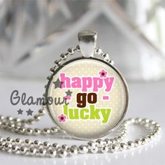 Happy Go Lucky Cream Polka Floral Silver Bezel Glass Tile Pendant | c0nfus3dgurl - Jewelry on ArtFire