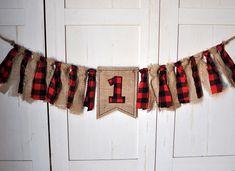 Shabby Rag Flag Fabric High Chair Banner - Lumberjack First Birthday - Red Black Buffalo Plaid and Burlap Birthday Party Cake Smash Decor Highchair