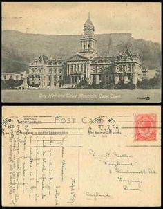 South Africa 1d 1917 Old Postcard City Hall Cape Town Table Mountain Clock Tower   eBay Picture Postcards, Old Postcards, Table Mountain Cape Town, Cannes, Union Of South Africa, France, Old Pictures, First World, Paris Skyline