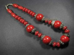 N1882 BOLD resin RED color belly dance tribal Naga TIBET Necklace Indian Jewelry #Handmade