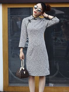 Chic Modern Qipao / Cheongsam Dress for Winter