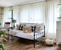 When you need extra beds but don't have extra bedrooms.this vintage-inspired daybed will function as a sofa until we need it for guests! See the details at ! Daybed In Living Room, Daybed Couch, Daybed Room, Daybed Bedding, Living Room Decor, Daybed Bedroom Ideas, Bed To Couch, Bedding Sets, Guest Room Decor
