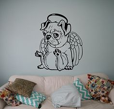 Little Pug Angel Wall Decal Cute Puppy Dog Vinyl Sticker Animals Home Interior Art Decor Ideas Bedroom Living Room Office Removable Housewares 5(pug) * You can get additional details at the image link.