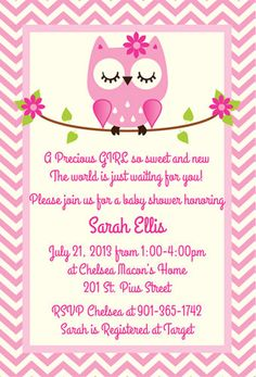 Pink Owl Baby Shower Invitation By Silverorchidgraphics On Etsy 15 00