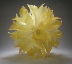 "Karli Sears.  ""Saffron Aurora"".  Blown glass, assembled."