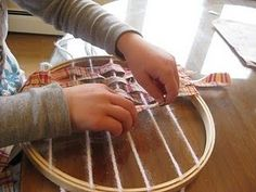 Montessori weaving -- easy idea for introducing weaving to young children.