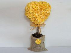 Topiaria coração de flores de EVA