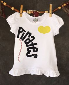 Personalized Heart OR Bow Tie Pittsburgh Pirates MLB Team Baseball Children's T-Shirt by Loonybecks on Etsy
