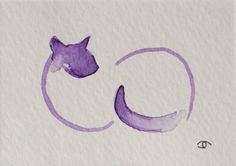 Abstract Siamese Cat ACEO Original Mini Watercolor Painting Art Trading Card | eBay