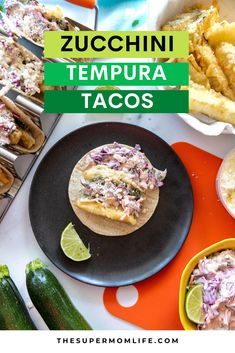 These delicious, vegetarian zucchini tempura tacos feature lightly battered zucchini, a cilantro-lime slaw, and a sprinkle of cotija cheese.