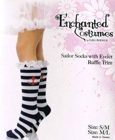 Blue White Striped Sailor Girl Anchor Lace Ruffle SM ML Sock Suit Nautical Child #LA #SailorFouledAnchor