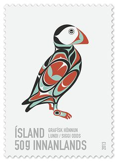 Icelandic post stamp of a puffin designed by Siggi_Odds
