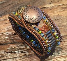 Leather cuff bracelet in copper with copper tube beads, African tribal seed beads and copper seed beads by CrosslakeArtisans on Etsy