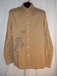 Express Casual Embroidered Tan Button Front Thin Long Sleeve Shirt Size: M #Casual #ButtonFront