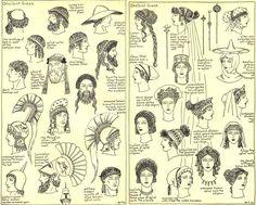 Ancient hats and haircuts Ancient Rome, Ancient Greece, Ancient Art, Greek Gods And Goddesses, Greek Mythology, Ancient Greek Clothing, Greek Hair, Eros And Psyche, Greek Men