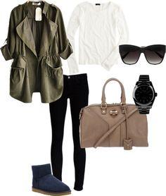 blue uggs, fall outfit, khaki, YSL bag